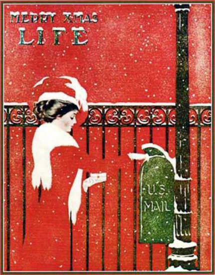 Life Magazine Copyright 1909 Girl In Red Merry XMas Mail | Vintage Ad and Cover Art 1891-1970