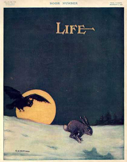 Life Magazine Copyright 1909 Owl Rabbit Book Number | Vintage Ad and Cover Art 1891-1970