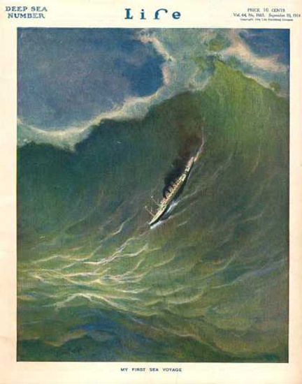 Life Magazine Copyright 1914 Wave Deep Sea Number | Vintage Ad and Cover Art 1891-1970