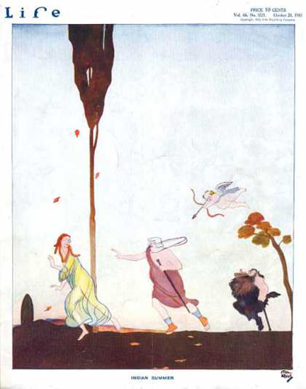 Life Magazine Copyright 1915 Indian Summer Cupid Action | Vintage Ad and Cover Art 1891-1970