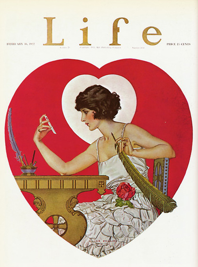 Life Magazine Copyright 1922 Girl Heart Rose | Sex Appeal Vintage Ads and Covers 1891-1970