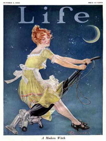 Life Magazine Copyright 1923 Modern Witch On Her Vacuum | Sex Appeal Vintage Ads and Covers 1891-1970