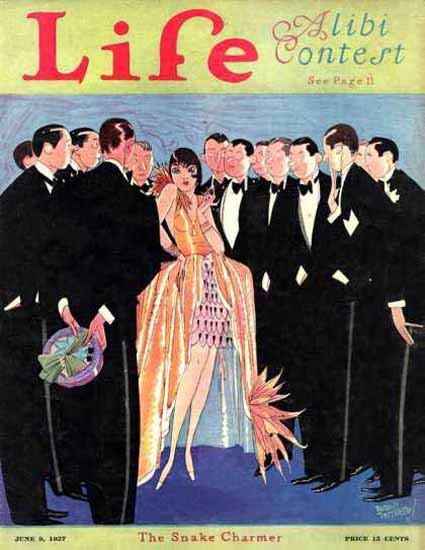 Life Magazine Copyright 1927 The Snake Charmer Party   Sex Appeal Vintage Ads and Covers 1891-1970