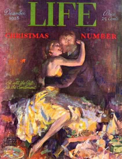 Life Magazine Copyright 1928 Sentiment Lovers Christmas | Sex Appeal Vintage Ads and Covers 1891-1970