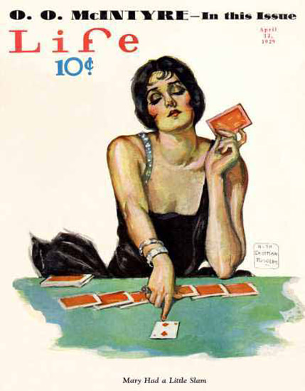 Life Magazine Copyright 1929 Mary Had A Little Slam Poker | Sex Appeal Vintage Ads and Covers 1891-1970
