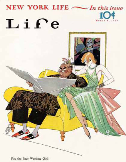 Life Magazine Copyright 1929 Pity The Poor Working Girl | Sex Appeal Vintage Ads and Covers 1891-1970