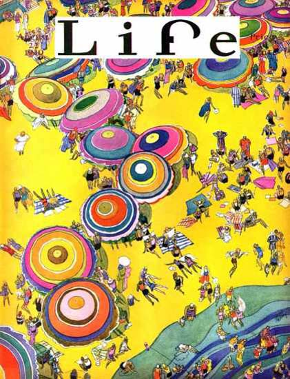 Life Magazine Copyright 1930 Beach Life Birds Eye View | Vintage Ad and Cover Art 1891-1970