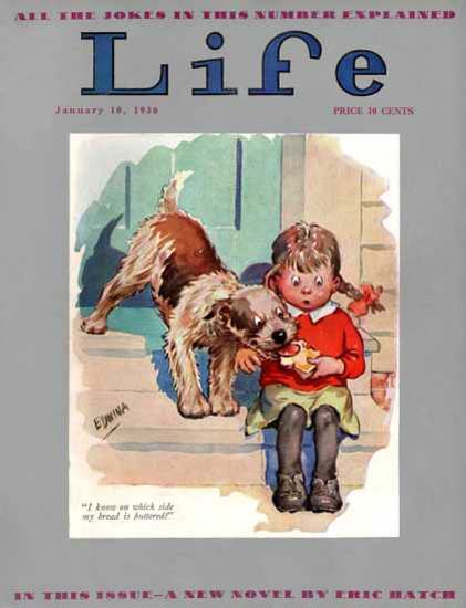 Life Magazine Copyright 1930 Little Girl Sandwich And Dog   Vintage Ad and Cover Art 1891-1970