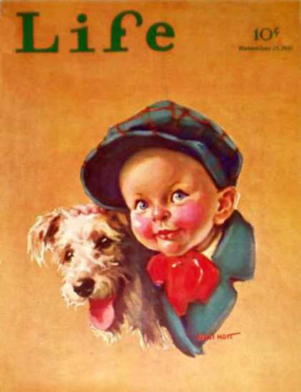 Life Magazine Copyright 1931 Little Boy And Little Dog   Vintage Ad and Cover Art 1891-1970