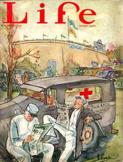 Life Magazine Copyright 1936 Ambulance Mens Break | Vintage Ad and Cover Art 1891-1970