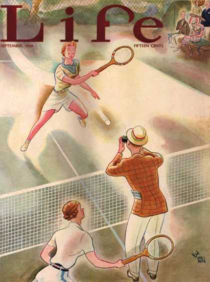 Life Magazine Copyright 1936 Tennis Photographers Ball | Vintage Ad and Cover Art 1891-1970