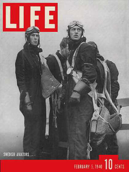 Life Magazine Copyright 1940 Swedish Army Pilots Aviators | Vintage Ad and Cover Art 1891-1970