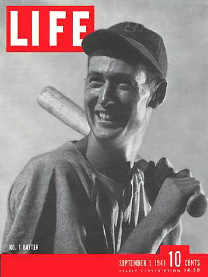 Life Magazine Copyright 1941 Ted Williams No 1 Batter | Vintage Ad and Cover Art 1891-1970