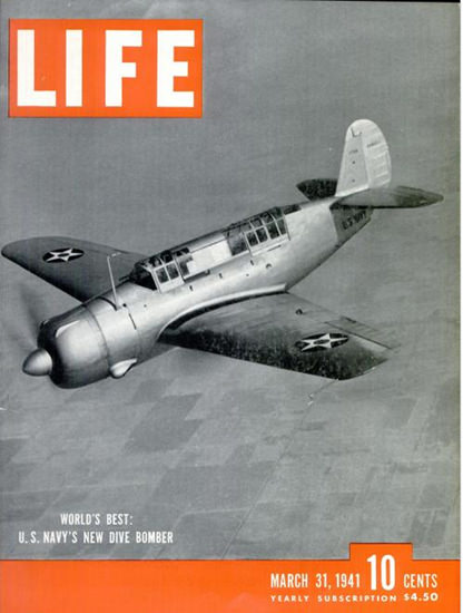Life Magazine Copyright 1941 US Navy Dive Bomber | Vintage Ad and Cover Art 1891-1970