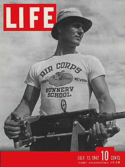Life Magazine Copyright 1942 Air Corps Gunnery School | Vintage Ad and Cover Art 1891-1970