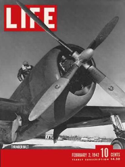 Life Magazine Copyright 1942 US Warplanes Thunderbolt | Vintage Ad and Cover Art 1891-1970