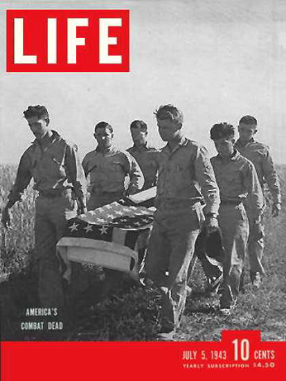 Life Magazine Copyright 1943 US Americas Combat Dead | Vintage Ad and Cover Art 1891-1970