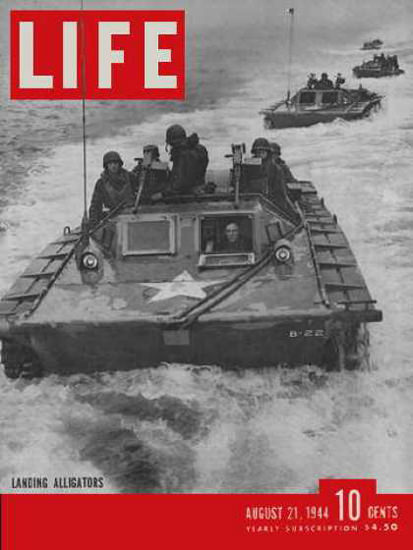 Life Magazine Copyright 1944 Amphibious Landing Alligators | Vintage Ad and Cover Art 1891-1970