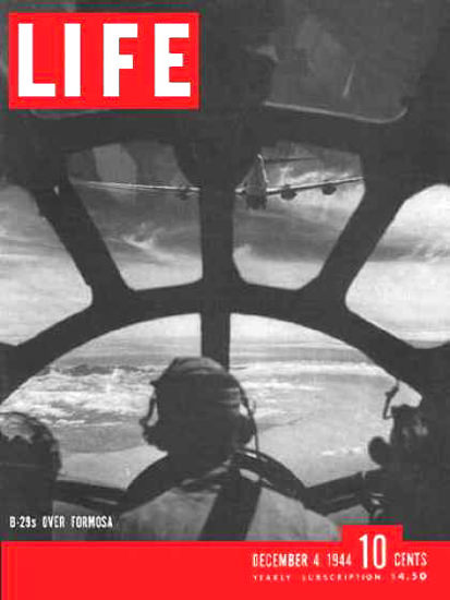 Life Magazine Copyright 1944 B-29s At Work Over Formosa | Vintage Ad and Cover Art 1891-1970