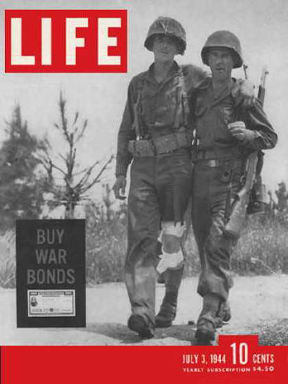 Life Magazine Copyright 1944 Back from Battle War Bonds | Vintage Ad and Cover Art 1891-1970