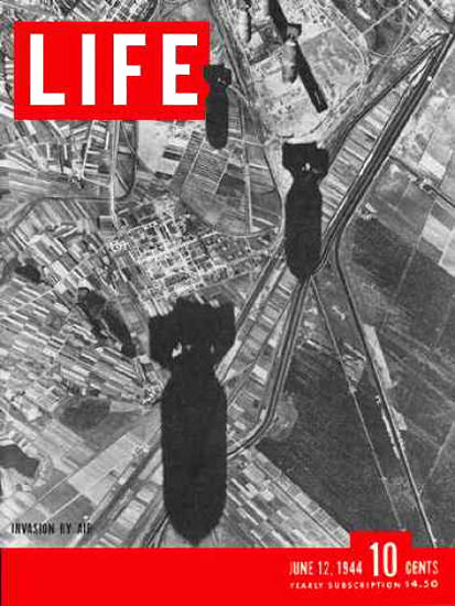 Life Magazine Copyright 1944 Bombs Over Europe Invasion | Vintage Ad and Cover Art 1891-1970