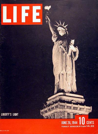 Life Magazine Copyright 1944 Light Statue Of Lliberty | Vintage Ad and Cover Art 1891-1970