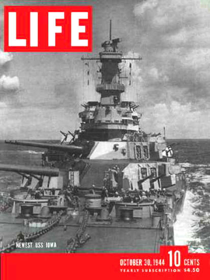 Life Magazine Copyright 1944 USS Iowa Super Battleship | Vintage Ad and Cover Art 1891-1970