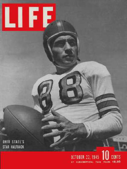 Life Magazine Copyright 1945 Ohio State Football Star | Vintage Ad and Cover Art 1891-1970
