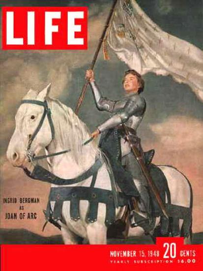 Life Magazine Copyright 1948 Ingrid Bergman Joan Of Arc | Vintage Ad and Cover Art 1891-1970