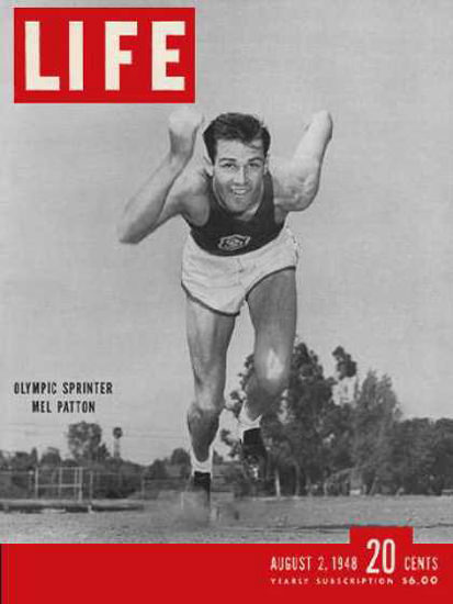 Life Magazine Copyright 1948 Olympic Sprinter Mel Patton | Vintage Ad and Cover Art 1891-1970