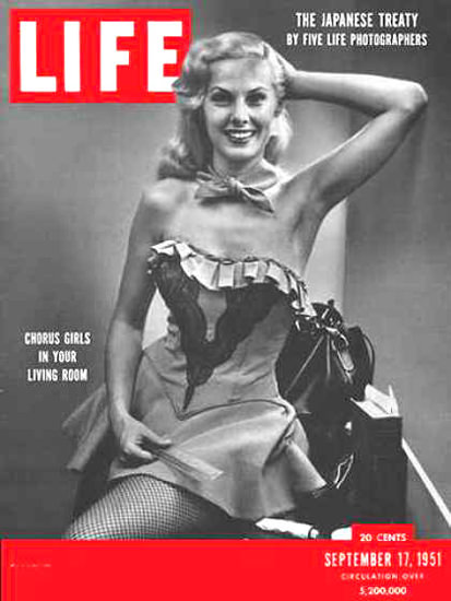 Life Magazine Copyright 1951 Chorus Girl In Living Room | Sex Appeal Vintage Ads and Covers 1891-1970