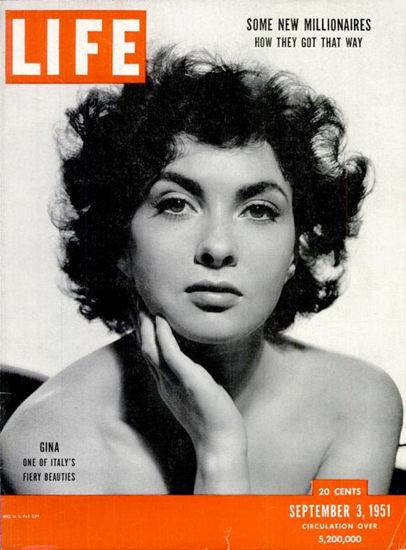 Life Magazine Copyright 1951 Gina Lollobrigida | Sex Appeal Vintage Ads and Covers 1891-1970