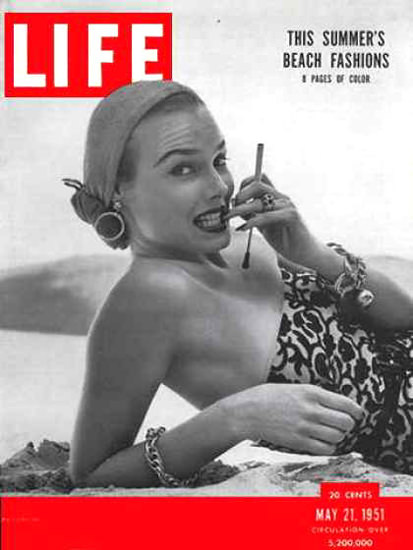 Life Magazine Copyright 1951 Summer Beach Fashion Hot | Sex Appeal Vintage Ads and Covers 1891-1970