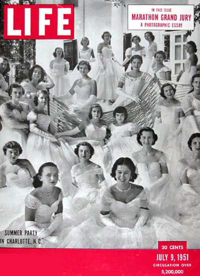 Life Magazine Copyright 1951 Summer Party In Charlotte | Vintage Ad and Cover Art 1891-1970