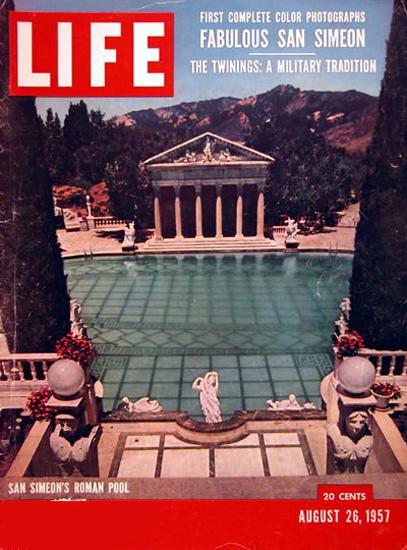 Life Magazine Copyright 1957 San Simeon Roman Pool | Vintage Ad and Cover Art 1891-1970