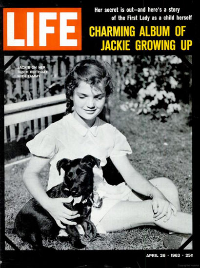Life Magazine Copyright 1963 Jackie Kennedy Growing Up | Vintage Ad and Cover Art 1891-1970