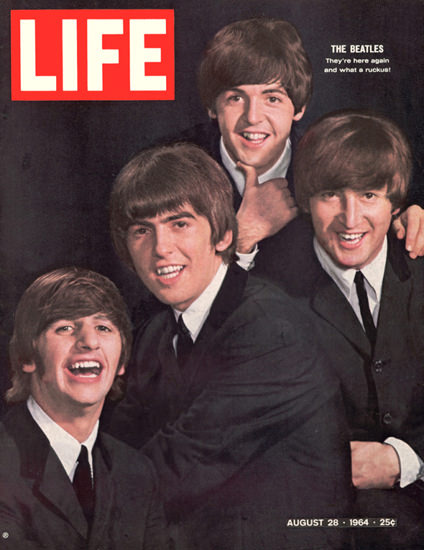Life Magazine Copyright 1964 The Beatles Here Again | Vintage Ad and Cover Art 1891-1970