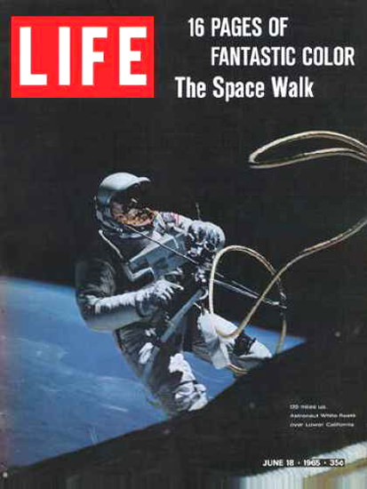 Life Magazine Copyright 1965 Astronaut White Spacewalk | Vintage Ad and Cover Art 1891-1970