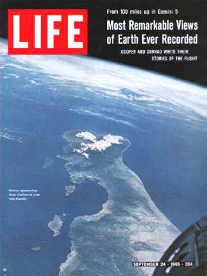 Life Magazine Copyright 1965 Baja California From Space | Vintage Ad and Cover Art 1891-1970