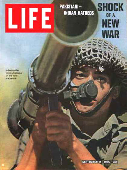 Life Magazine Copyright 1965 Indian Soldier Wields Bazooka | Vintage Ad and Cover Art 1891-1970