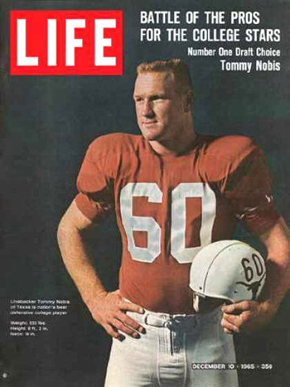 Life Magazine Copyright 1965 Texas Linebacker T Nobis | Vintage Ad and Cover Art 1891-1970