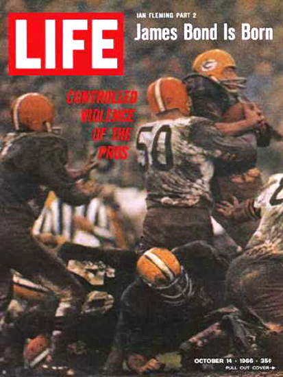 Life Magazine Copyright 1966 Violance Football | Vintage Ad and Cover Art 1891-1970
