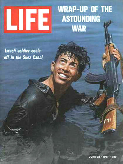 Life Magazine Copyright 1967 Israeli Soldier Cools Off | Vintage Ad and Cover Art 1891-1970
