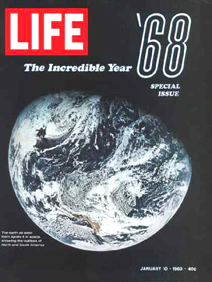 Life Magazine Copyright 1969 Earth From Apollo 8 | Vintage Ad and Cover Art 1891-1970