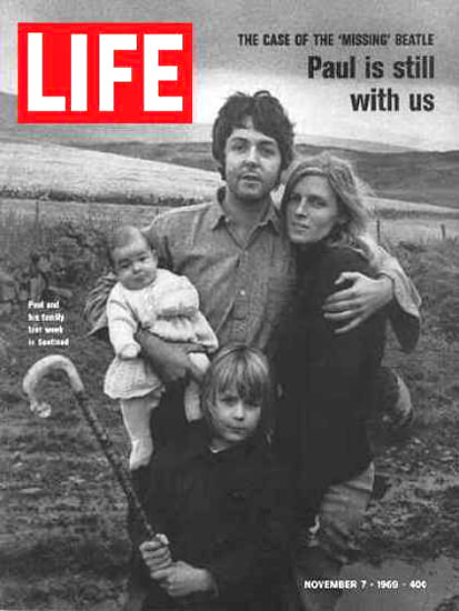 Life Magazine Copyright 1969 Paul McCartney And Family | Vintage Ad and Cover Art 1891-1970