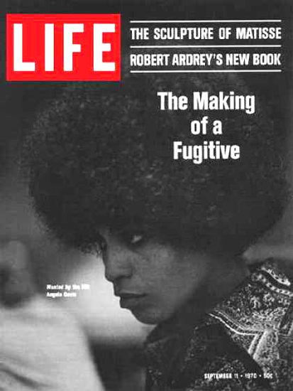 Life Magazine Copyright 1970 Angela Davis Making Fugitive | Vintage Ad and Cover Art 1891-1970