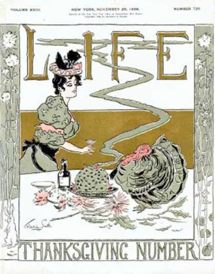 Life Magazine Cover Copyright 1896 Thanksgiving Turkey | Vintage Ad and Cover Art 1891-1970