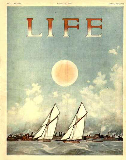 Life Magazine Cover Copyright 1907 Sailing With The Sun | Vintage Ad and Cover Art 1891-1970