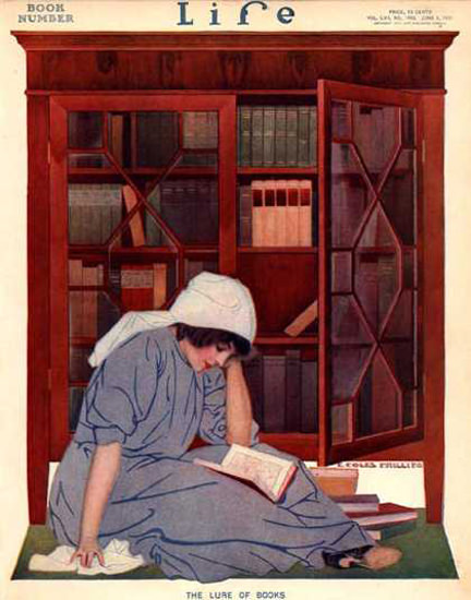 Life Magazine Cover Copyright 1911 The Lure Of Books | Vintage Ad and Cover Art 1891-1970