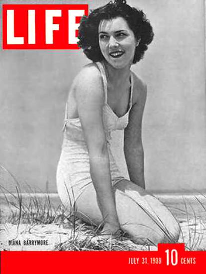 Life Magazine Cover Copyright 1939 Diana Barrymore | Sex Appeal Vintage Ads and Covers 1891-1970